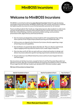 miniboss booklet page one